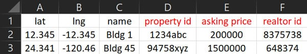 Excel CSV Location Import Example